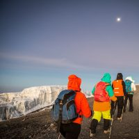 Kilimanjaro trekking during moonlight